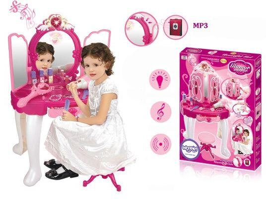 WOOPIE Różowa INTERAKTYWNA Toaletka MP3 Suszarka Biżuteria Kosmetyki LK