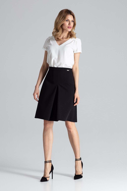 Czarna midi spódnica w kształcie litery a z kontrafałdą