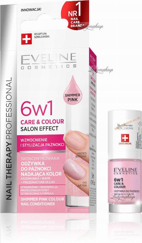 Eveline Cosmetics - NAIL THERAPY PROFESSIONAL - Colour Nail Conditioner - Odżywka do paznokci nadająca kolor 6w1 - 5 ml - Shimmer Pink
