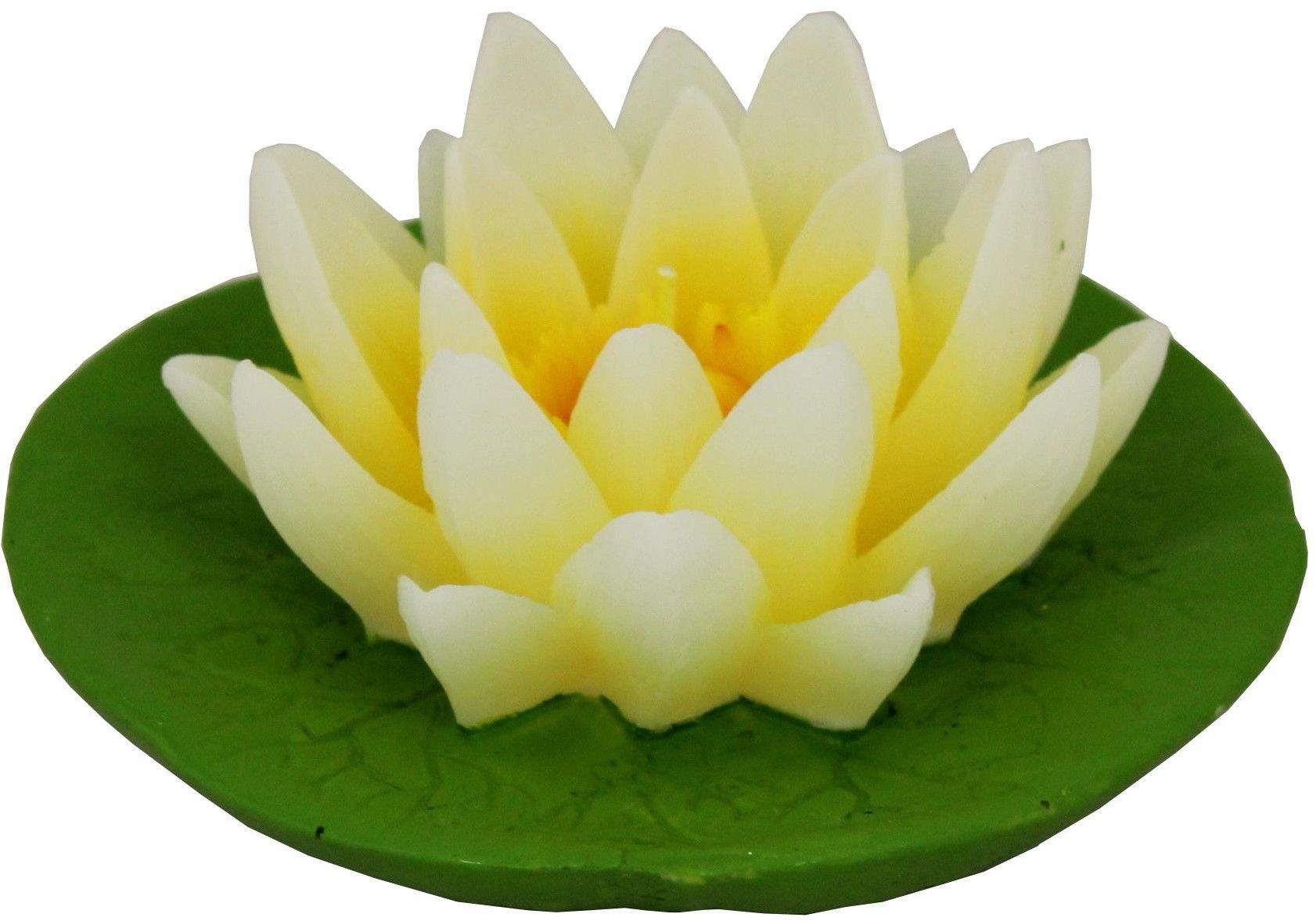 Świeczka pływająca - lilia na liściu