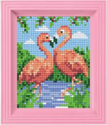 Pixel P31442 mozaika opakowanie na prezent z flamingami, obraz pikselowy z ramką do tworzenia dla dzieci i dorosłych