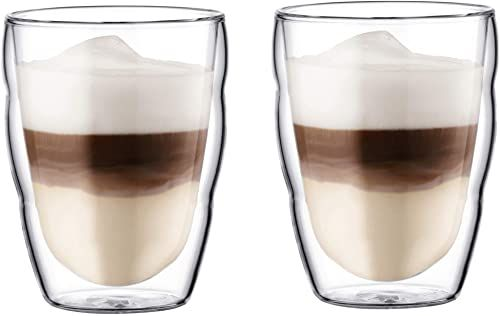 Bodum Pilatus 2-częściowy zestaw szklanek (podwójne ścianki, izolowane, nadają się do mycia w zmywarce, 0,25 litra), przezroczyste