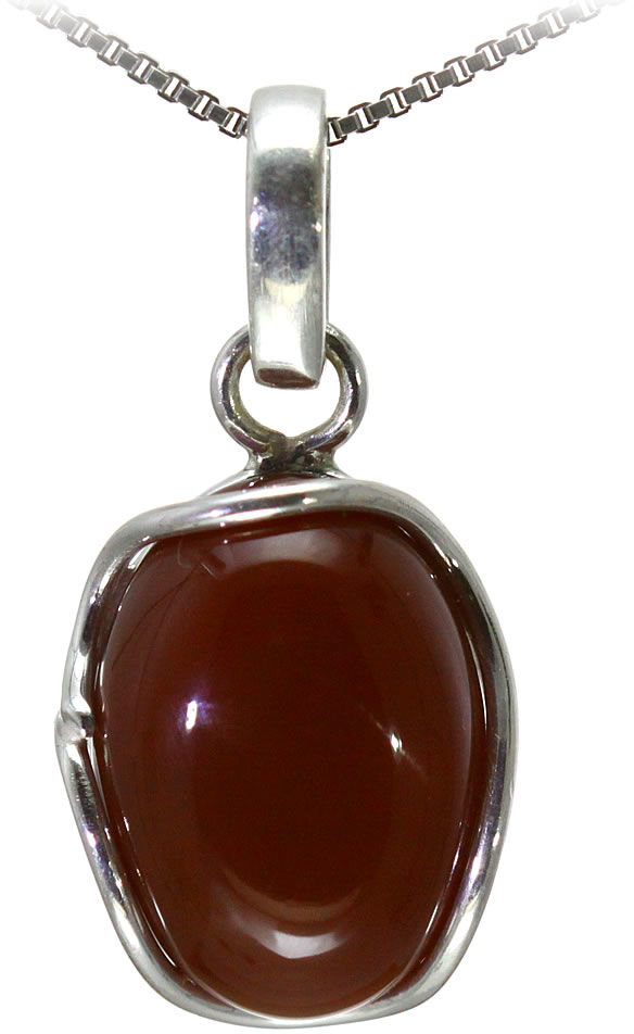 Kuźnia Srebra - Zawieszka srebrna, 30mm, Czerwony Onyks, 5g, model