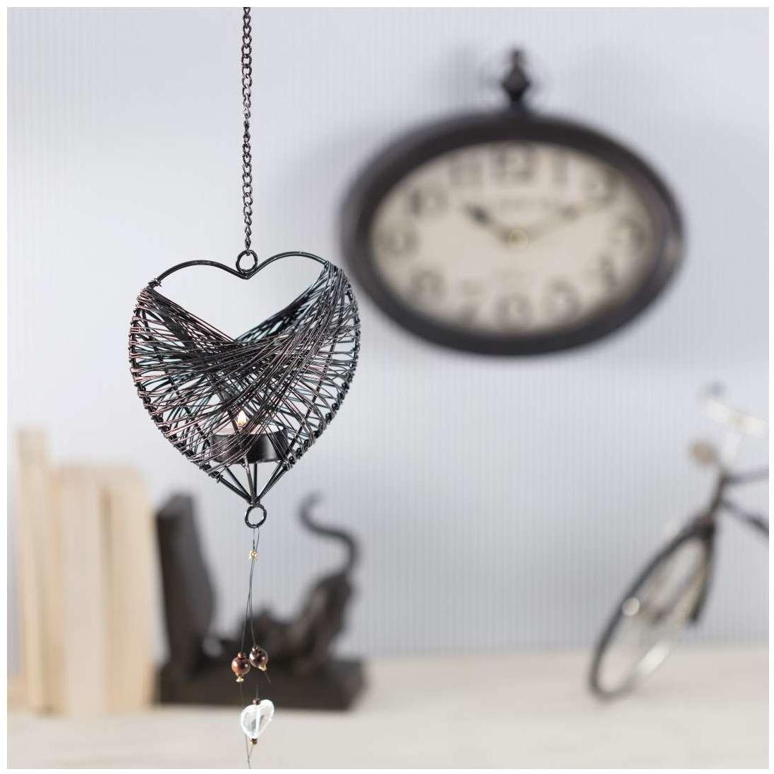 Świecznik wiszący Wire Heart 77cm, 14  8  77 cm