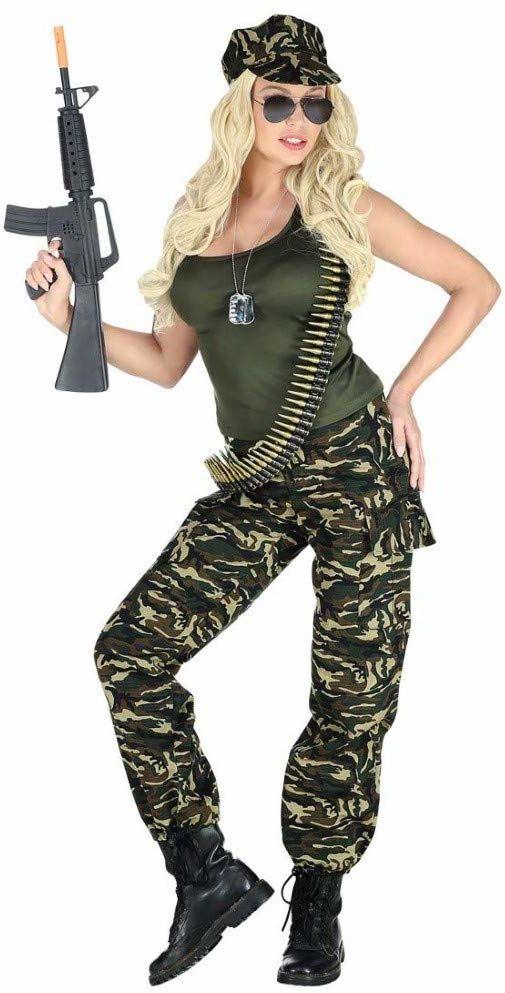 Widmann 69433 kostium żołnierza dla dorosłych, damski, zielony/brązowy, L