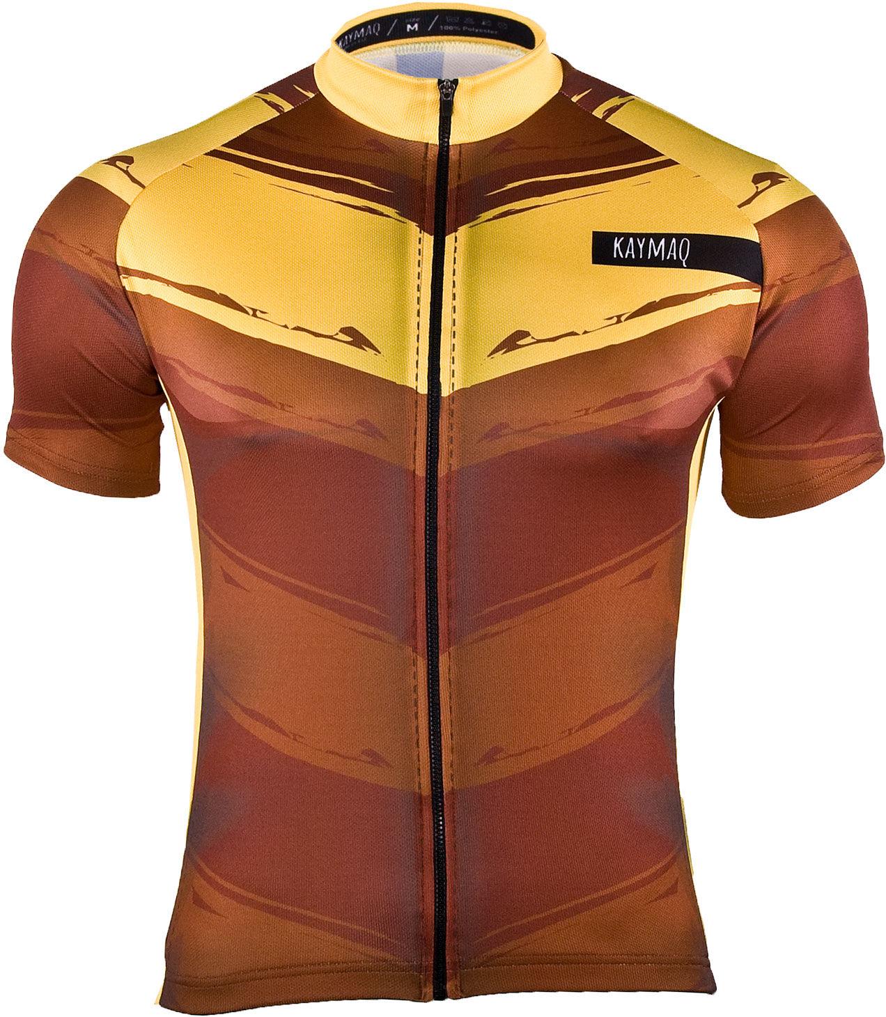 KAYMAQ M13 męska koszulka rowerowa z krótkim rękawem brązowa Rozmiar: 2XL,kaymaq-m13