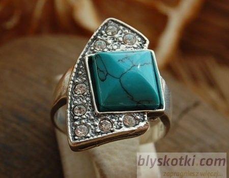Avenida - srebrny pierścionek z turkusem i kryształkami