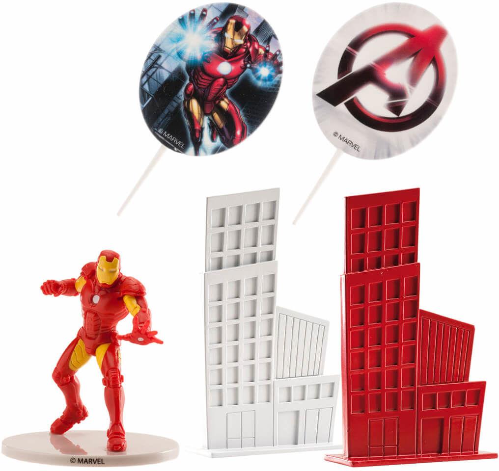 Dekoracyjny zestaw figurek tortowych Iron Man - 1 komplet.