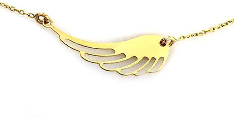 Złoty naszyjnik 333 celebrytka ażurowe skrzydło