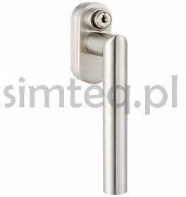 Klamka okienna z kluczem FG61 stal szlachetna - trzpień 37 mm