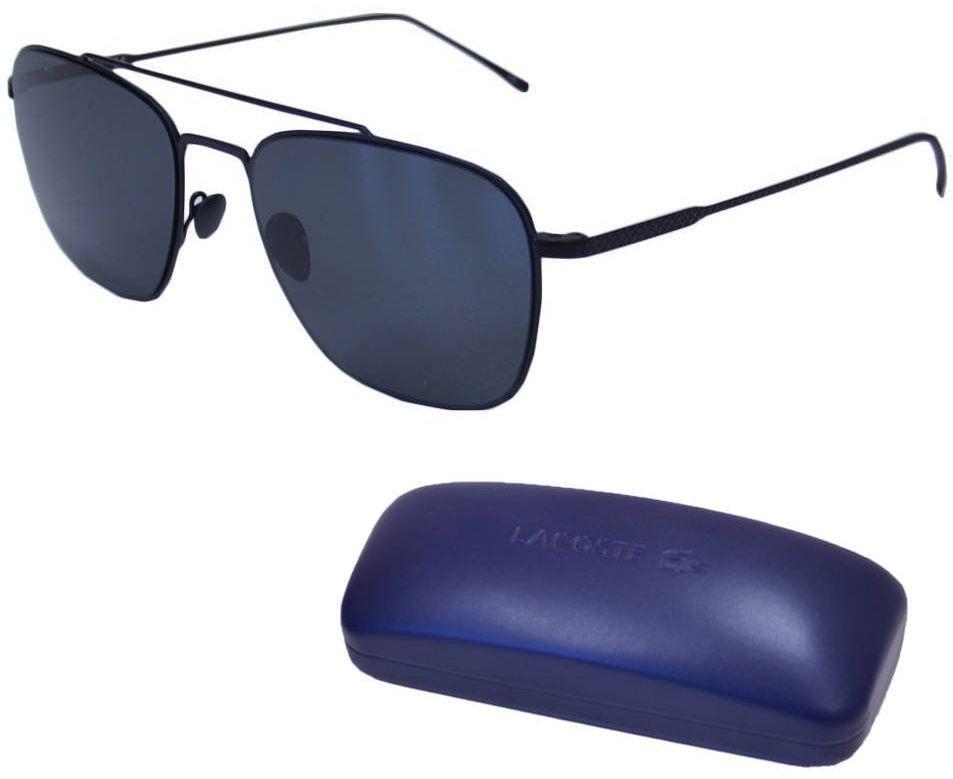 Okulary przeciwsłoneczne Lacoste męskie pilotki czarne - L201S