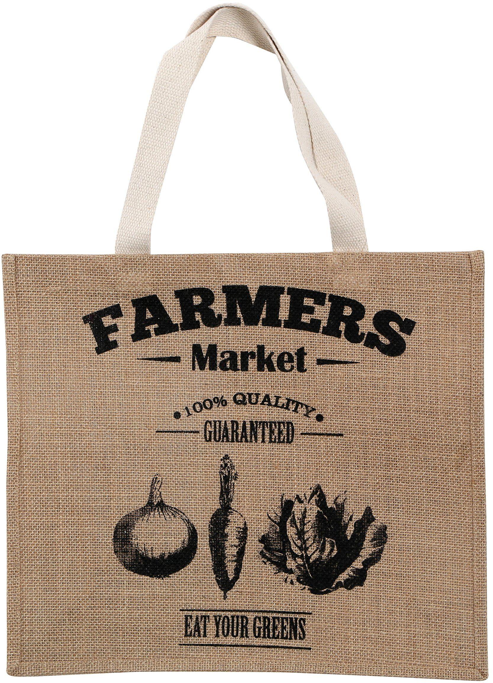 Premier Bauernmarkt torba na zakupy, juta, Heasian, bawełna, naturalna, czarna