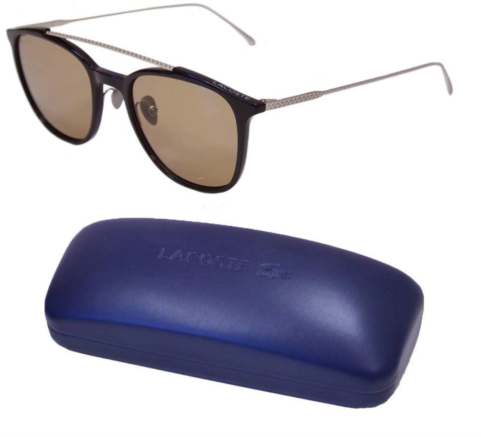 Okulary przeciwsłoneczne Lacoste męskie czarne pilotki - L880SPC