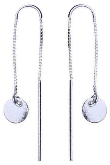 Delikatne długie przewlekane rodowane srebrne wiszące kolczyki kółko kółeczko coin circle srebro 925 ALMS003S