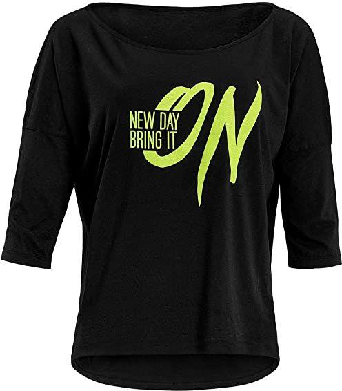 """Winshape Damska ultra lekka modna koszulka z rękawami 3/4 MCS001 z neonowym żółtym nadrukiem""""New day bring it on"""" z brokatowym nadrukiem, Winshape Dance Style"""