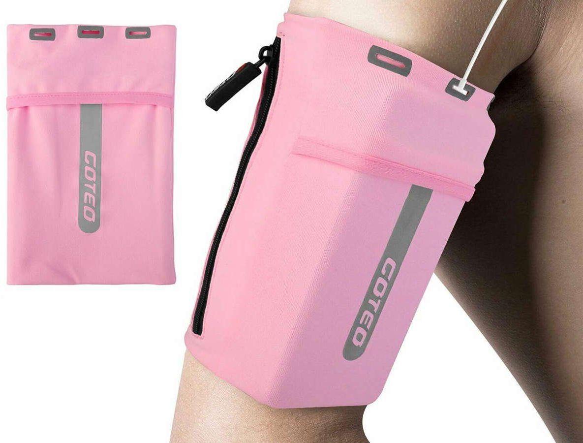 Etui opaska sportowa Goteo armband na ramię do telefonu L Różowa