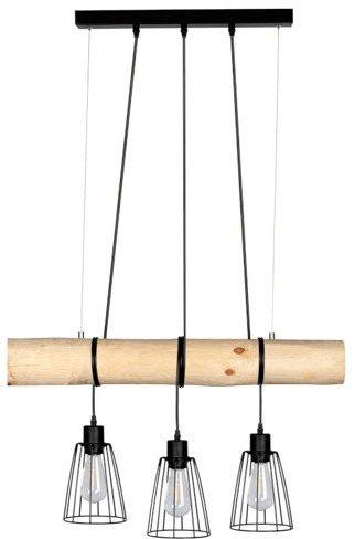 SPOTLIGHT Lampa wisząca TRABO SHORT z drewna sosny o kolorze sosny naturalnej z kloszami 68214304