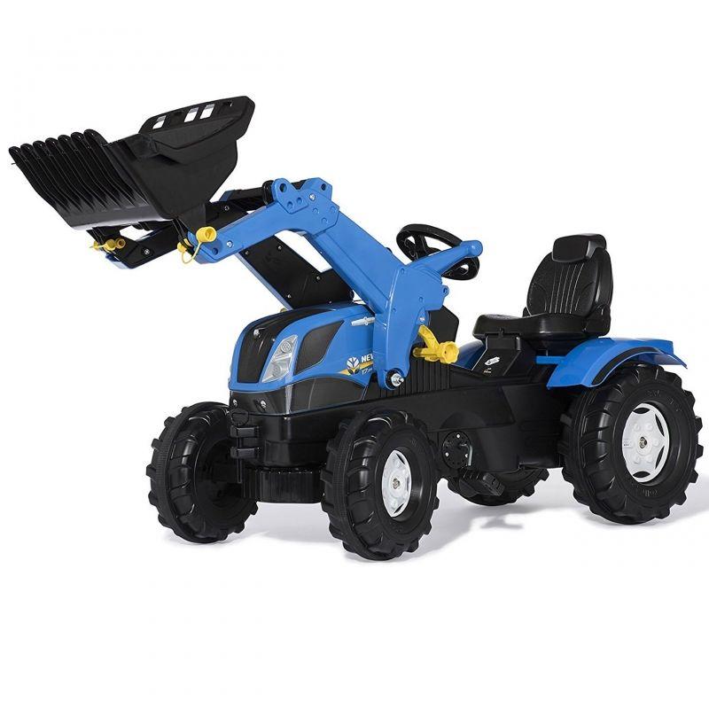 Rolly Toys rollyFarmtrac New Holland traktor na pedały z łyżką i cichymi kołami LK