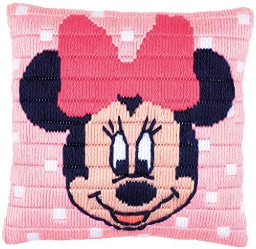Vervaco poduszka do haftowania Disney Minnie Mouse, obraz do haftowania zaznaczony zestaw ściegów zaciskowych, wstępnie oznaczony, bawełna, wielokolorowa, 25 x 25 x 0,3 cm