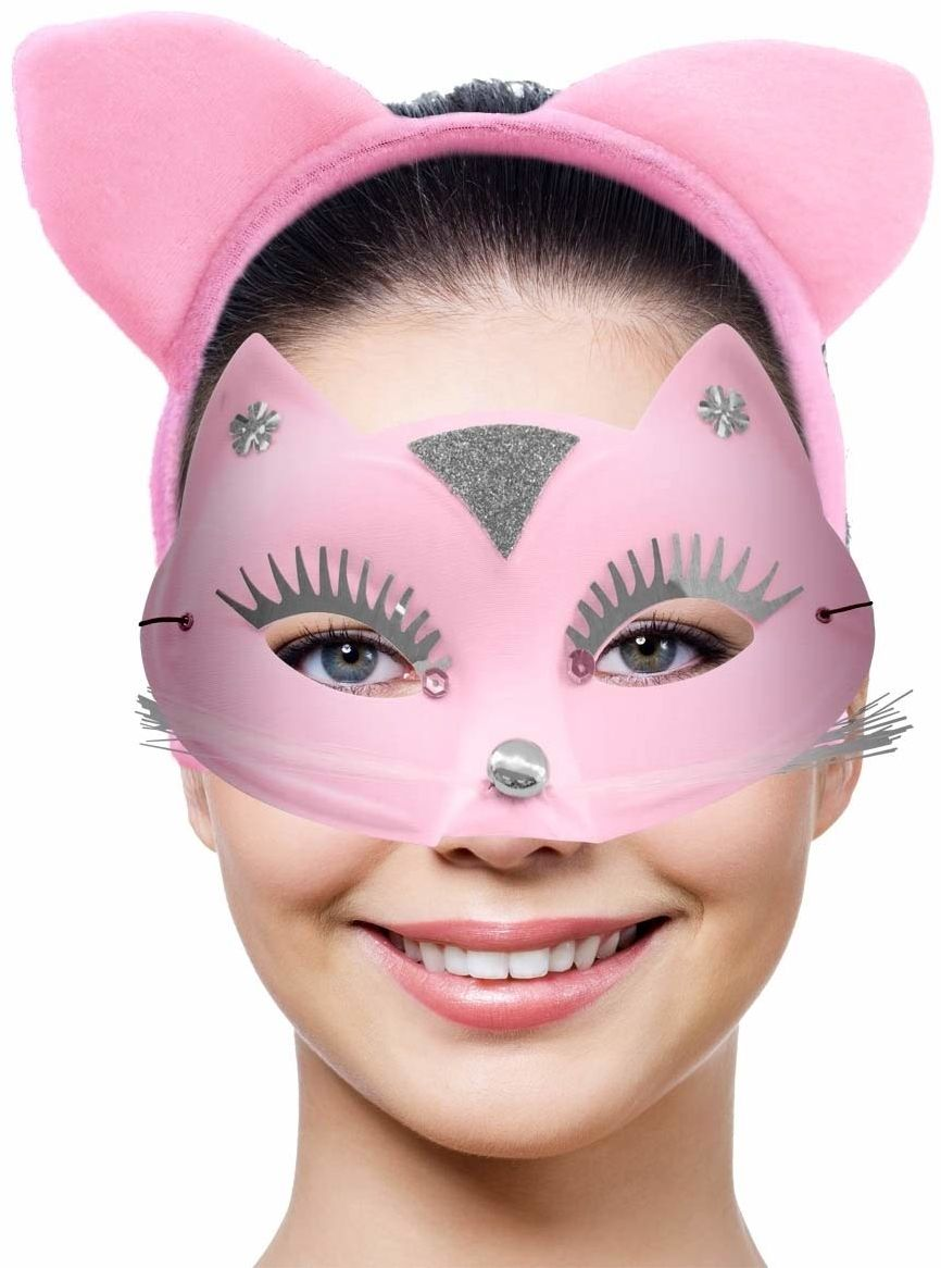 Różowa maska dla kota z pasującymi kocimi uszkami