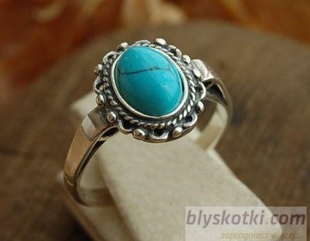 Nebbia - srebrny pierścionek z turkusami