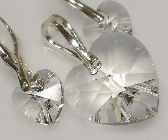 SWAROVSKI piękny komplet SERCA 9 KOLORÓW srebro