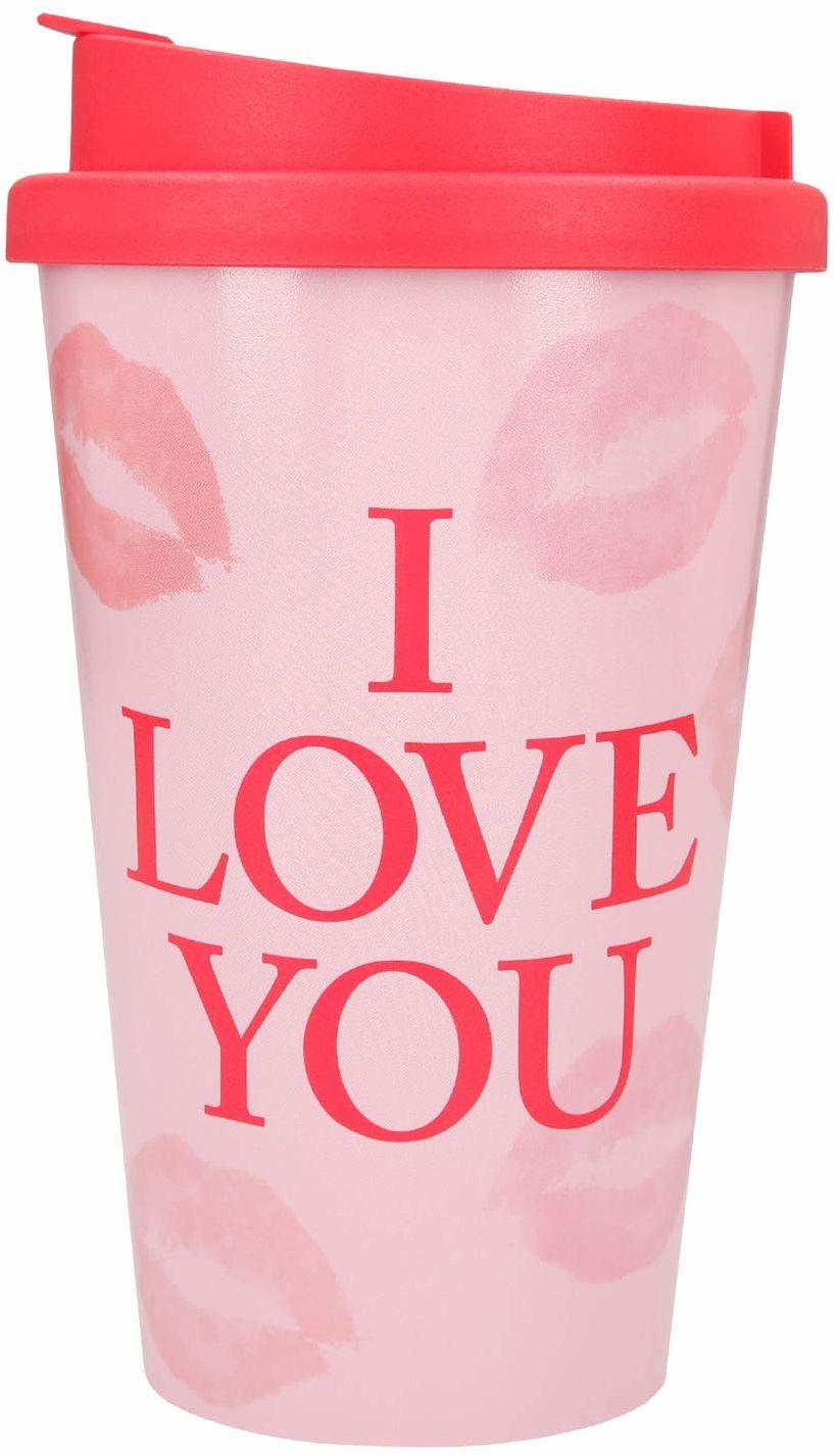 Depesche 2180.028 kubek na wynos z tworzywa sztucznego z sentencją, 350 ml, I Love You, wielokolorowy