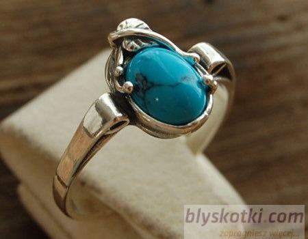 Loren - srebrny pierścionek z turkusami