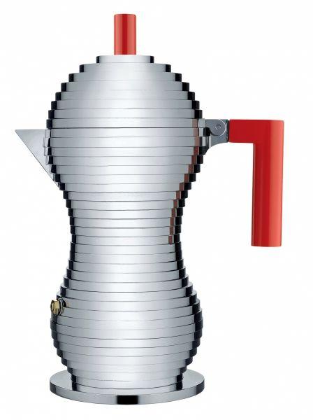 Alessi PULCINA Kawiarka - Zaparzacz do Espresso 300 ml - Czerwona Rączka