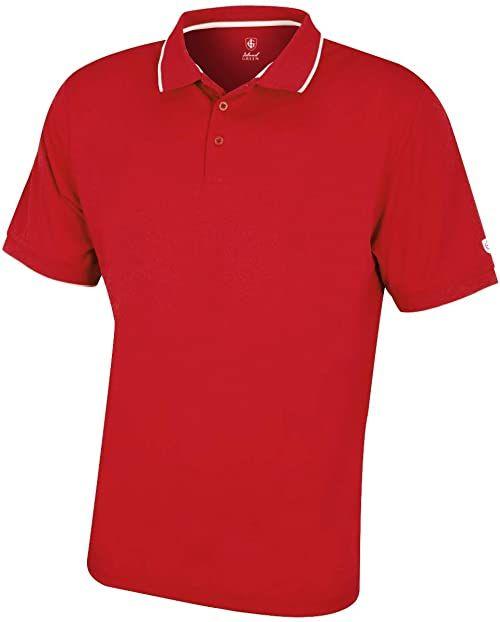 Island Green Męska wydajna oddychająca odprowadzająca wilgoć koszulka polo z krótkim rękawem koszulka golfowa Czerwony L