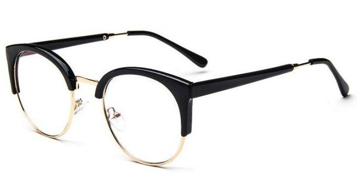 Okulary Półramki Kocie Oczy Korekcyjne Zerówki STEC-04