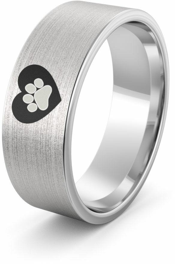 Obrączka srebrna serce z łapą psa - wzór Ag-386
