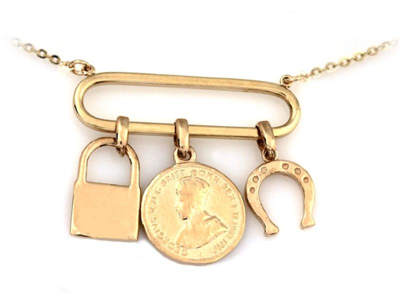 Złoty naszyjnik 585 z zawieszkami podkowa kłódka moneta