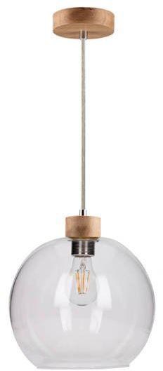 SPOTLIGHT lampa wiszaca SVEA ze szklanym kloszem z drewna dębowego 13560174