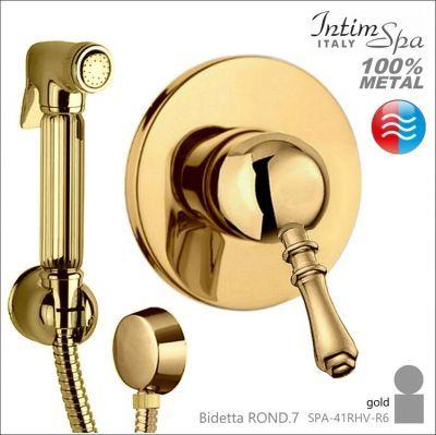 ROND.7 Bidetta złoty komplet retro - pokrętło classic, mieszacz, rączka 41, wąż, woda z/c IntimSPA