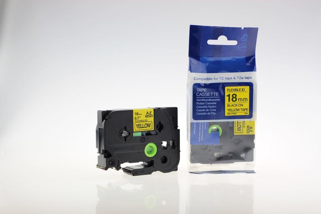 Taśma zamiennik do Brother 18mm/8m żółta flexi czarny nadruk TZEFX641