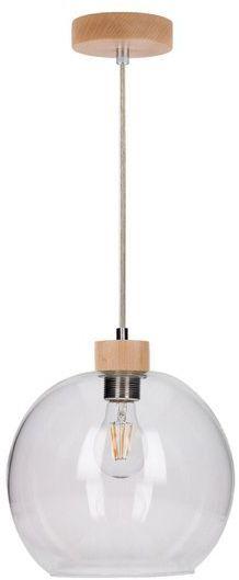 SPOTLIGHT lampa wiszaca SVEA ze szklanym kloszem z drewna brzoza 13560160