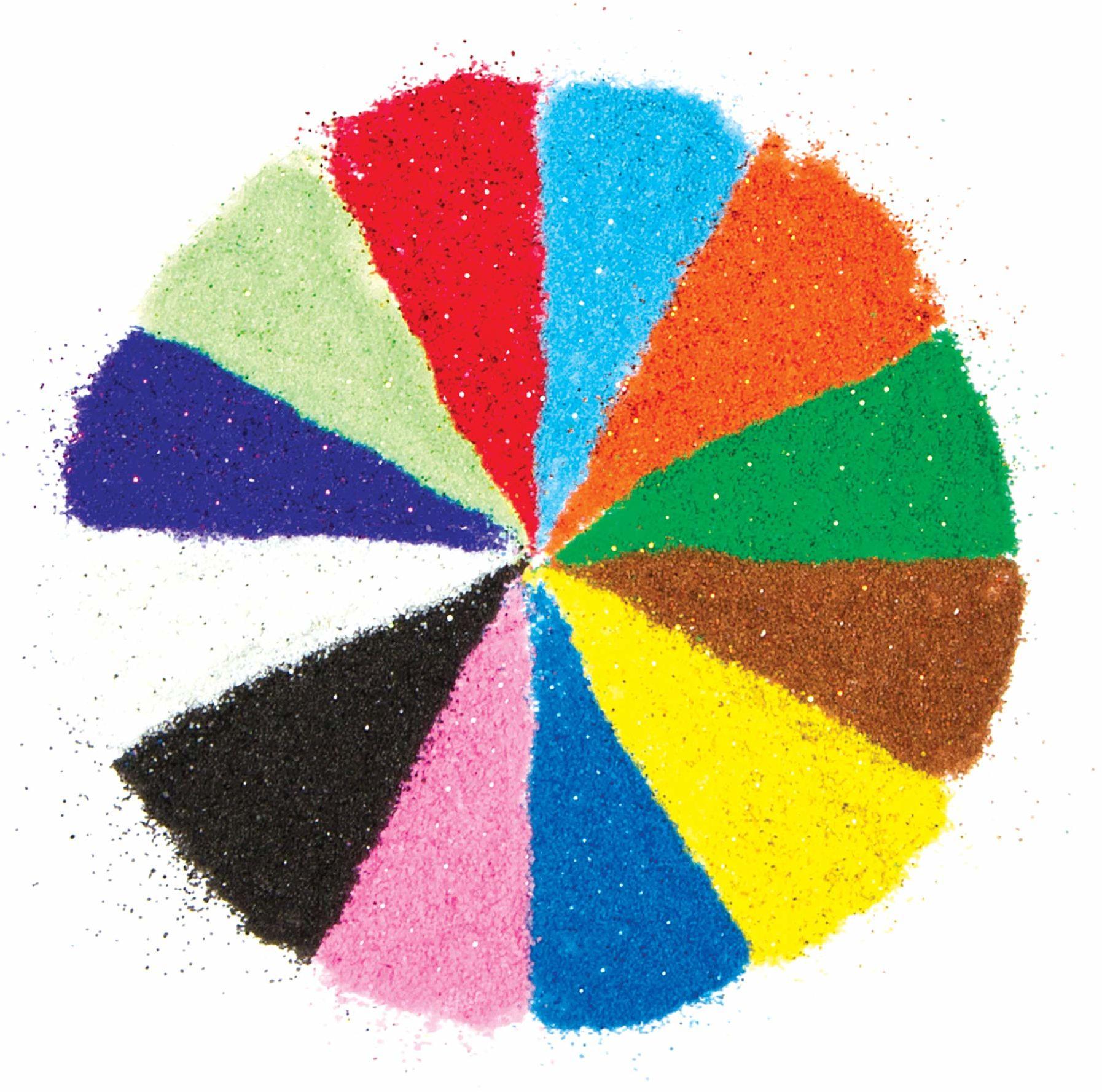 Baker Ross AG638 brokatowy piasek dla dzieci do majsterkowania, tworzenia i ozdabiania kartek, prac ręcznych i kolaży latem (12 woreczków)