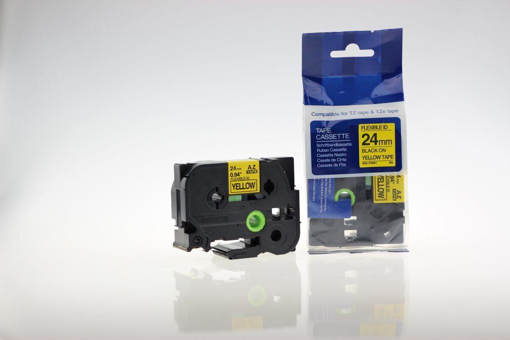 Taśma zamiennik do Brother 24mm/8m żółta flexi czarny nadruk TZEFX651