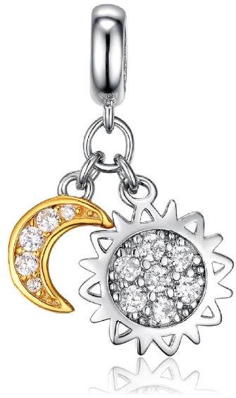 Rodowany srebrny wiszący charms do pandora słońce i księżyc sun and moon cyrkonie srebro 925 DZ029