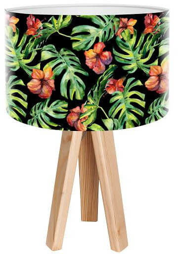 Lampa stołowa mini-trójnóg Liście Palmy czarna