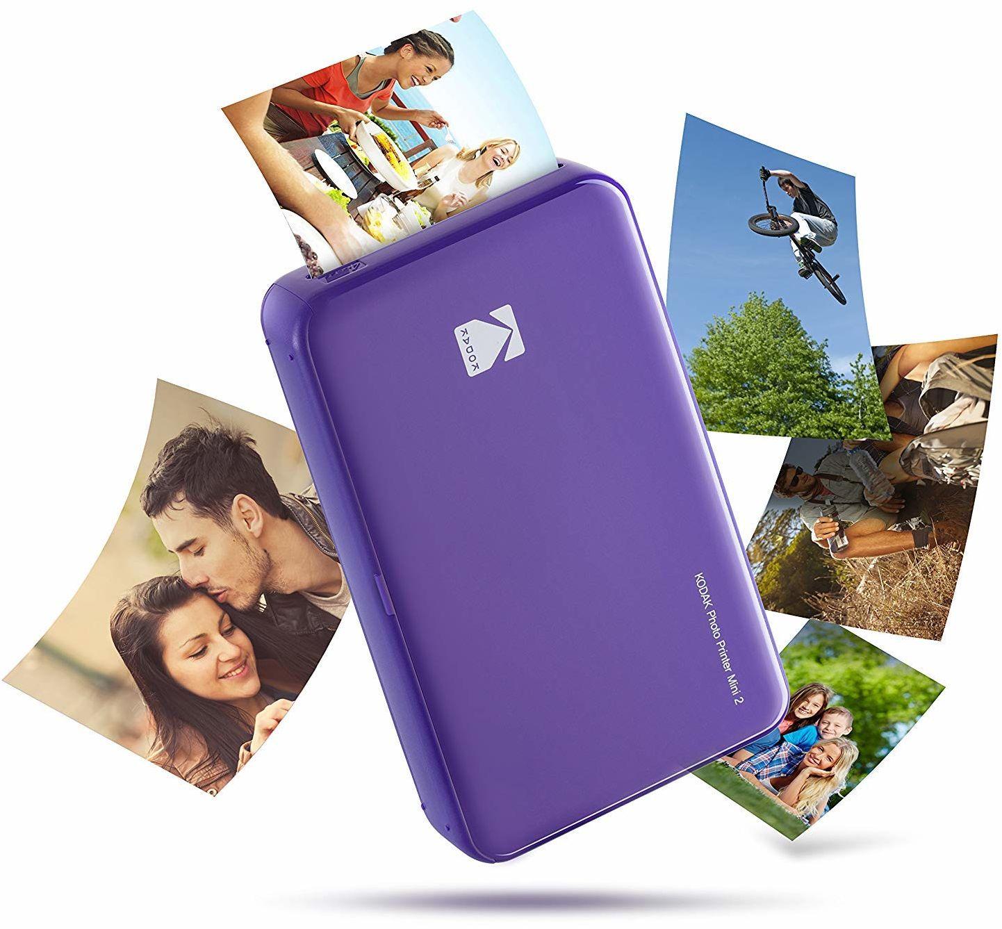 Kodak Mini 2 HD Wireless Mobile Instant drukarka fotograficzna z opatentowaną technologią druku (fioletowa)  kompatybilna z urządzeniami iOS i Android  prawdziwy tusz w jednym
