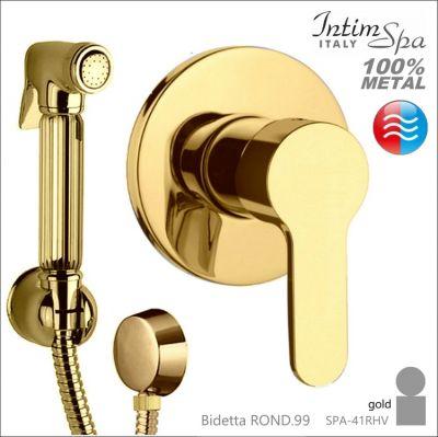 ROND.99 Bidetta komplet  mieszacz round, rączka 41, wąż 120cm,metal.złoty,podtynk.woda z/c IntimSPA