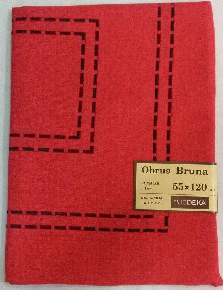 Obrus haftowany Bruna 35x50 kpl 6 szt. czerwony z czarnym wzorkiem niska cena