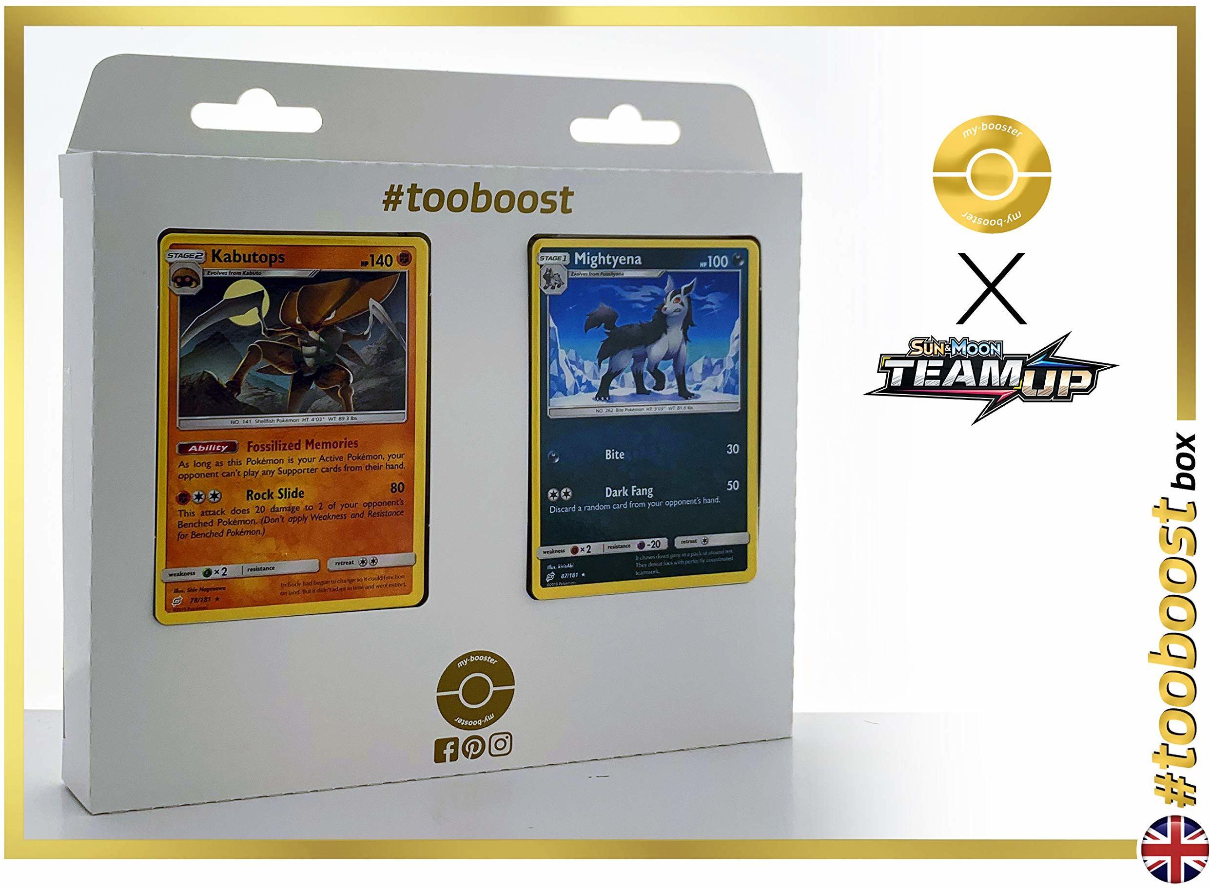 Kabustops 78/181 i Mightyena (Magnayen) 87/181 - #tooboost X Sun & Moon 9 Team Up - pudełko z 10 angielskimi kartami Pokémon + 1 Goodie Pokémon