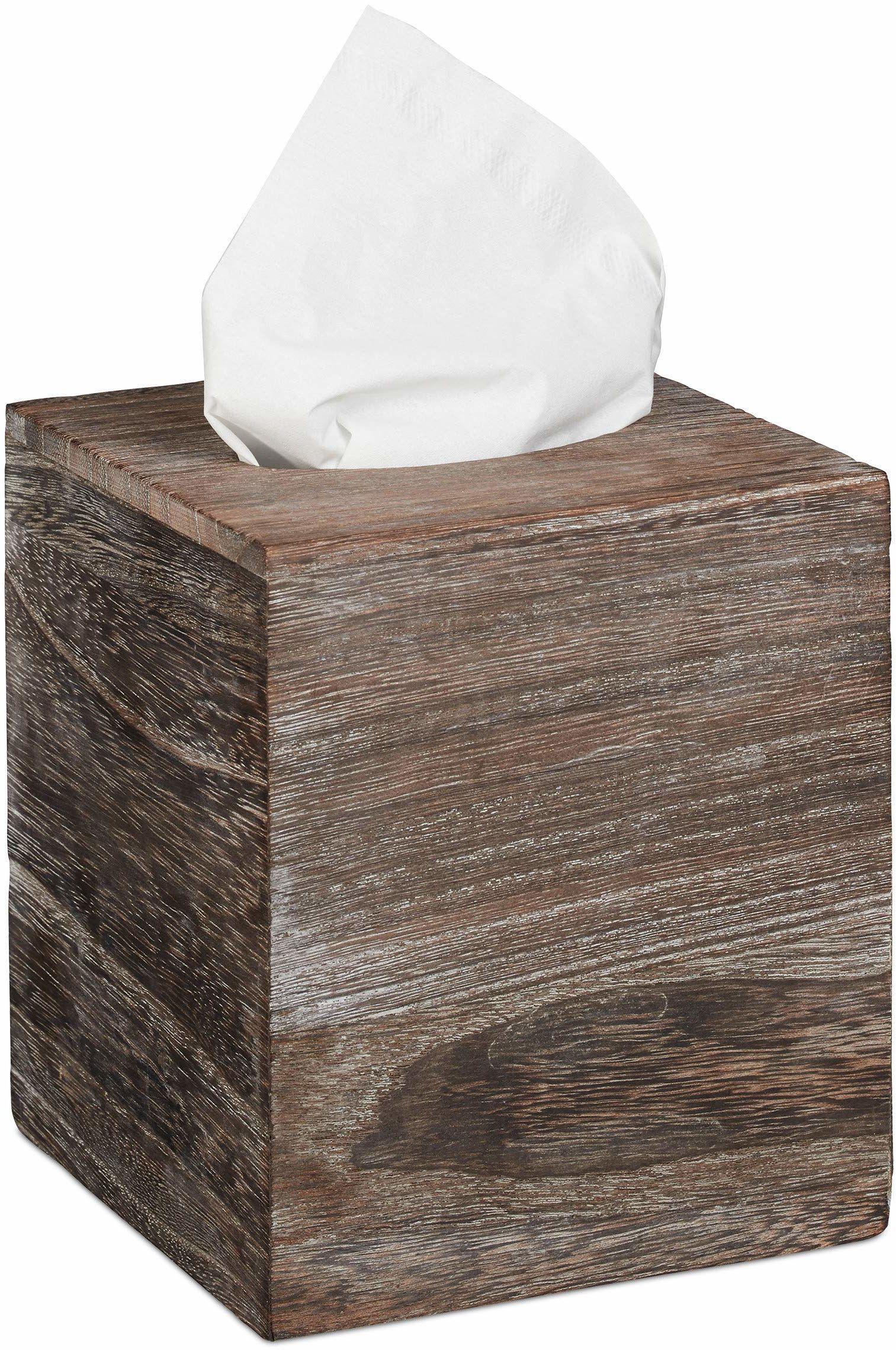 Relaxdays Pudełko na chusteczki Shabby, pudełko na chusteczki z przesuwanym dnem, pudełko na chusteczki, kwadratowe, wys. x szer. x gł.: 16,5 x 14 x 14 cm, brązowe