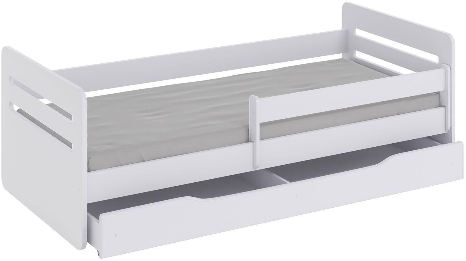 Łóżko dziecięce z barierką Candy 2X 80x160 - białe