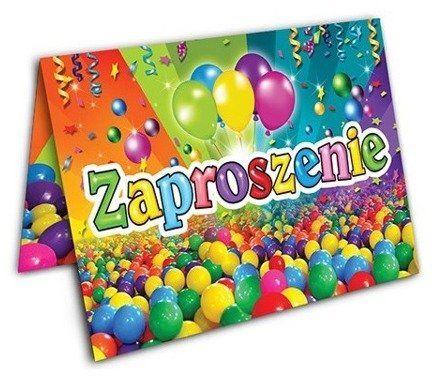 Zaproszenia na urodziny Kolorowe Kulki 10 sztuk ZX6901-10x