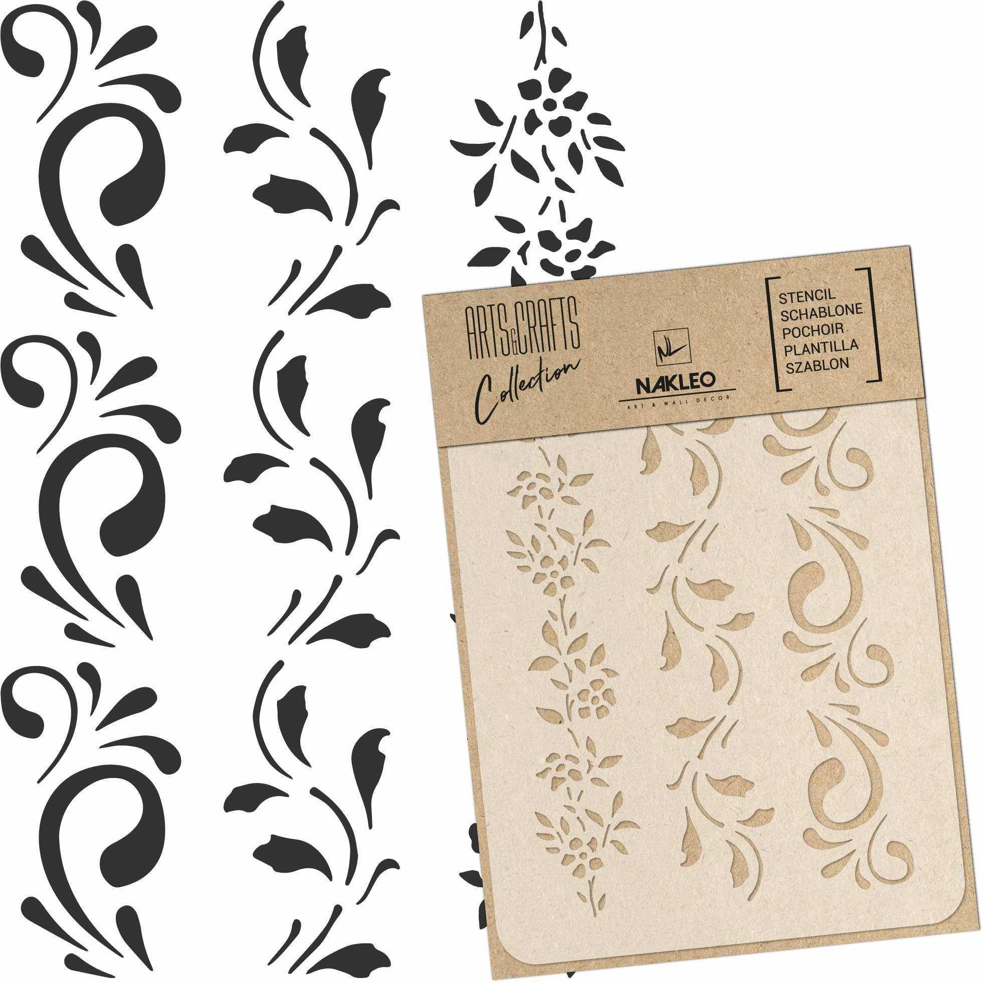 szablon malarski wielokrotny // BORDIURA KWIATOWA (BORDER FLOWERS) - A5 (15x21cm)
