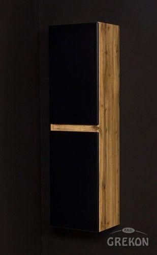 Regał łazienkowy loftowy czarny 40x144cm, wysoki dwudrzwiowy, Gante GRACE
